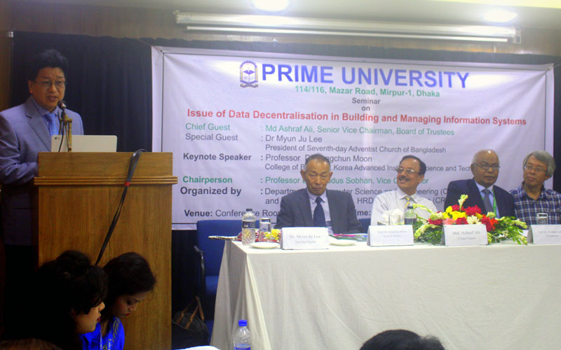 <p>Dr Myun Ju Lee, President of Seventh-day Adventist Church of Bangladesh delivering speech