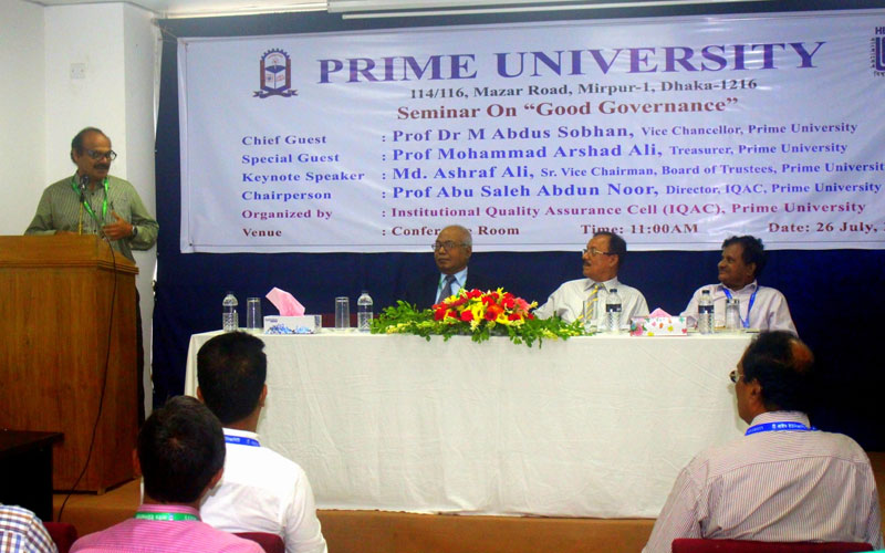 <p>Controller of Exam. Prime University is delivering his speech</p>