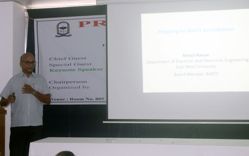 <p align=center>Professor Dr Anisul Haque is delivering his presentation on Preparation for the BAETE Accreditation </p>