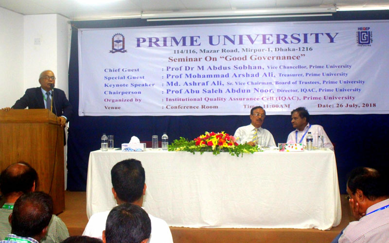<p>Vice Chancellor, Prime University and Chief Guest of the seminar is delivering his speech</p>